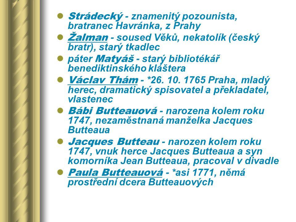 Strádecký - znamenitý pozounista, bratranec Havránka, z Prahy Žalman - soused Věků, nekatolík (český bratr), starý tkadlec páter Matyáš - starý biblio