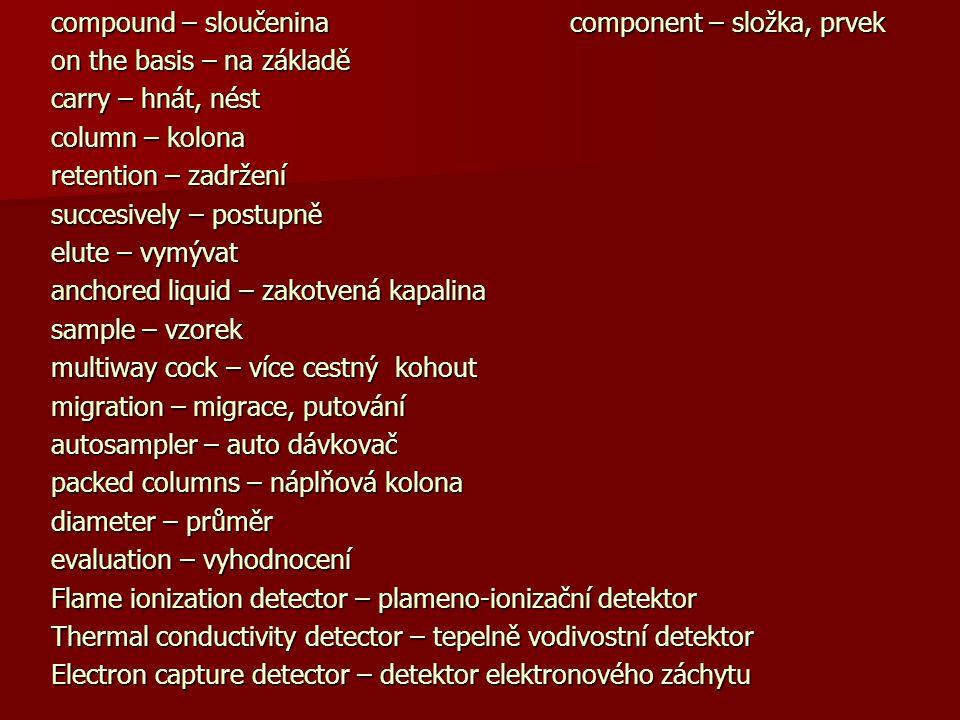 compound – sloučenina component – složka, prvek on the basis – na základě carry – hnát, nést column – kolona retention – zadržení succesively – postup