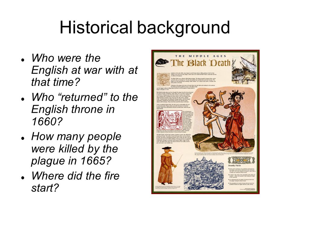 Historical background Who were the English at war with at that time.