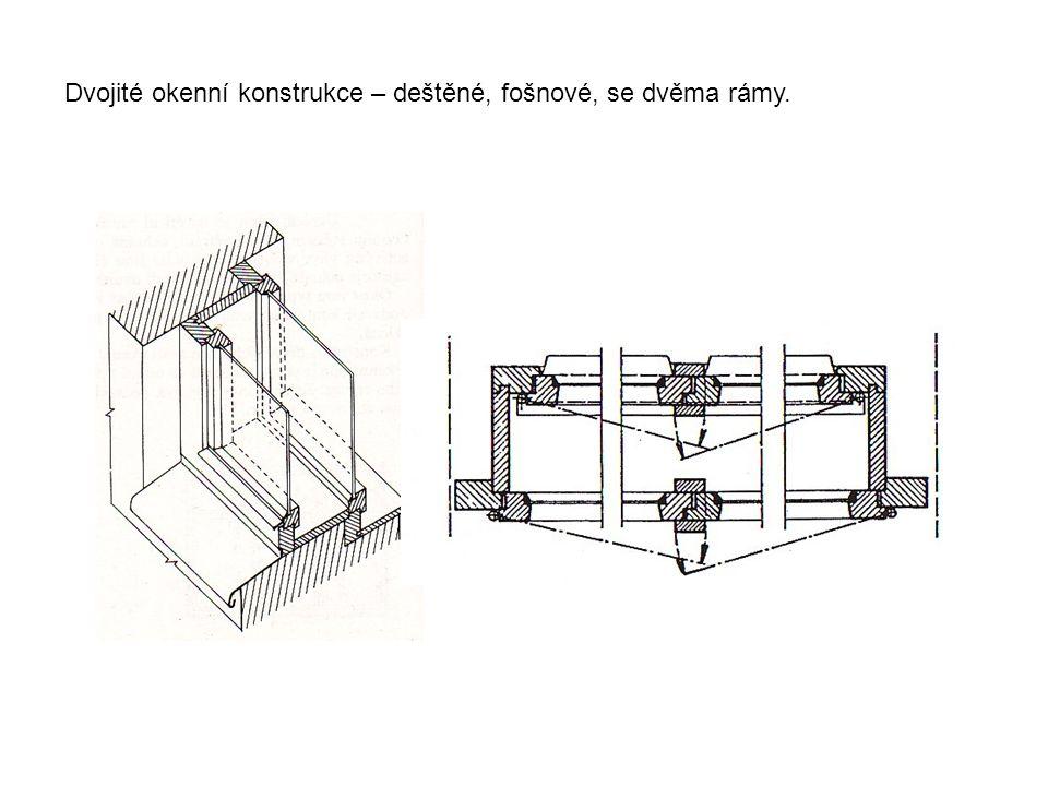 Dvojité okenní konstrukce – deštěné, fošnové, se dvěma rámy.