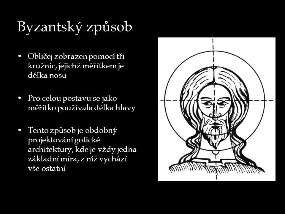 Byzantský způsob Obličej zobrazen pomocí tří kružnic, jejichž měřítkem je délka nosu Pro celou postavu se jako měřítko používala délka hlavy Tento způsob je obdobný projektování gotické architektury, kde je vždy jedna základní míra, z níž vychází vše ostatní