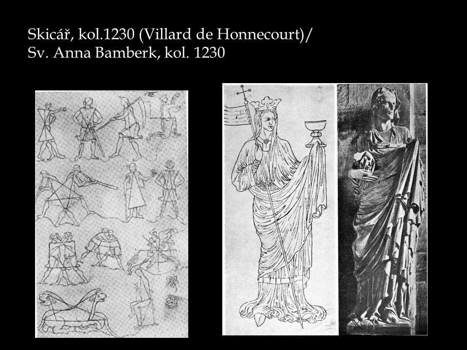 Skicář, kol.1230 (Villard de Honnecourt)/ Sv. Anna Bamberk, kol. 1230