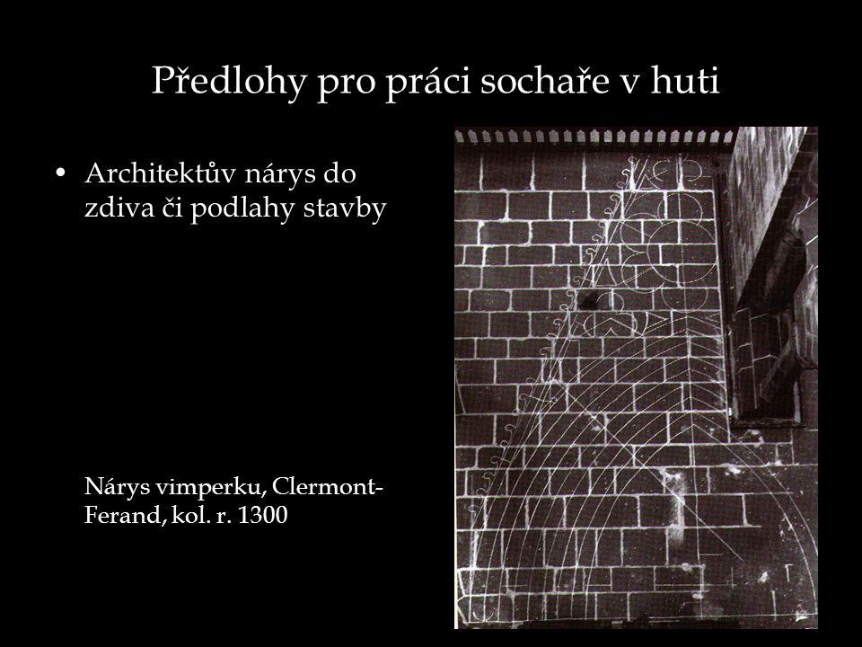 Předlohy pro práci sochaře v huti Architektův nárys do zdiva či podlahy stavby Nárys vimperku, Clermont- Ferand, kol.
