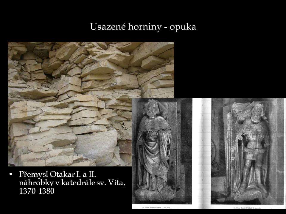 Usazené horniny - opuka Přemysl Otakar I. a II. náhrobky v katedrále sv. Víta, 1370-1380