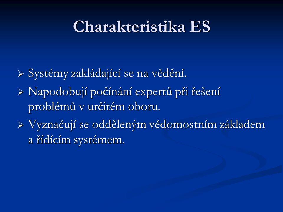 Charakteristika ES  Systémy zakládající se na vědění.