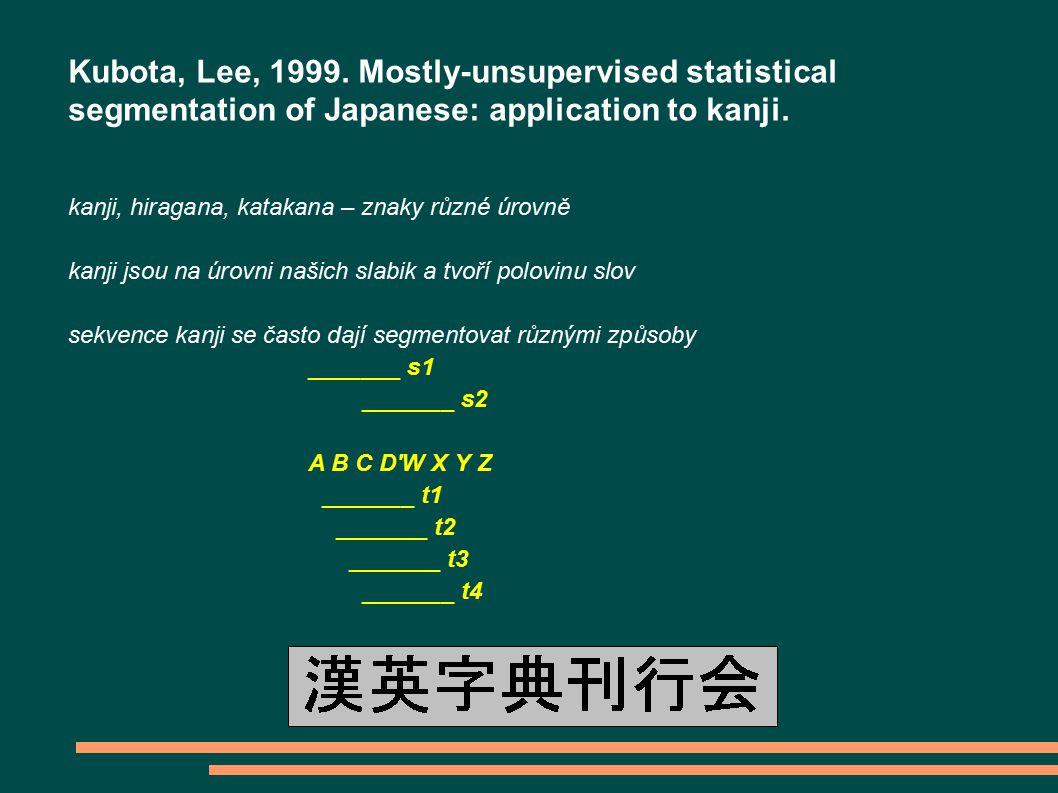 Kubota, Lee, 1999.Mostly-unsupervised statistical segmentation of Japanese: application to kanji.