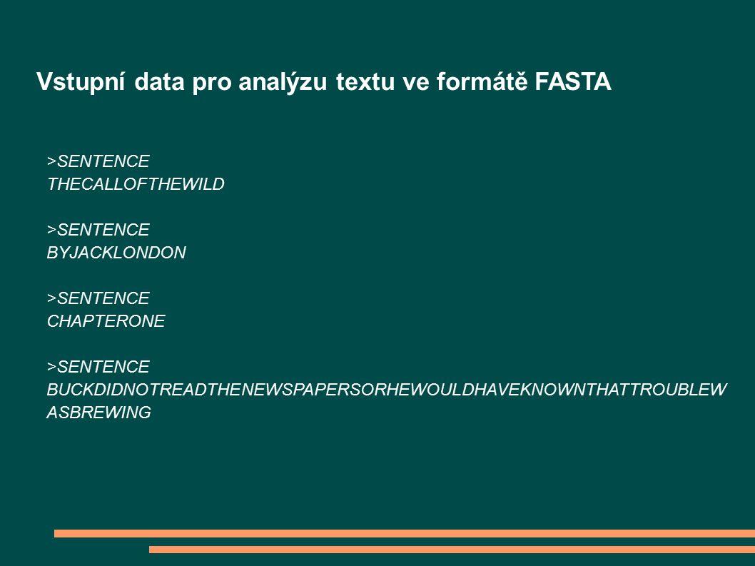 >SENTENCE THECALLOFTHEWILD >SENTENCE BYJACKLONDON >SENTENCE CHAPTERONE >SENTENCE BUCKDIDNOTREADTHENEWSPAPERSORHEWOULDHAVEKNOWNTHATTROUBLEW ASBREWING Vstupní data pro analýzu textu ve formátě FASTA