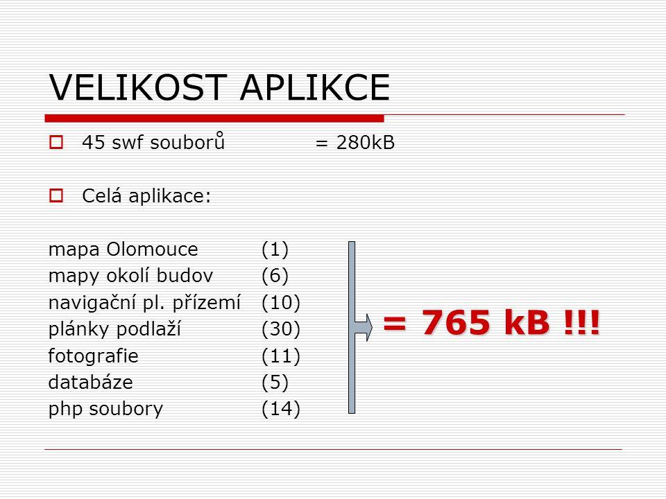 VELIKOST APLIKCE  45 swf souborů = 280kB  Celá aplikace: mapa Olomouce (1) mapy okolí budov (6) navigační pl.
