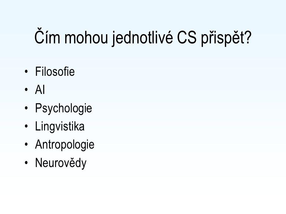 Čím mohou jednotlivé CS přispět Filosofie AI Psychologie Lingvistika Antropologie Neurovědy