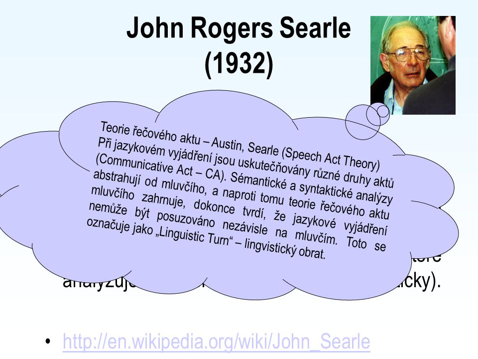 John Rogers Searle (1932) Anglický filosof, orientovaný na filosofii přirozeného jazyka (žák J.