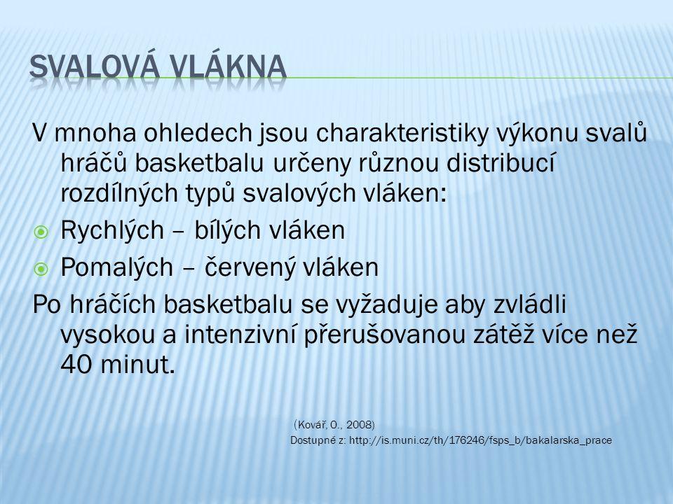 V mnoha ohledech jsou charakteristiky výkonu svalů hráčů basketbalu určeny různou distribucí rozdílných typů svalových vláken:  Rychlých – bílých vlá