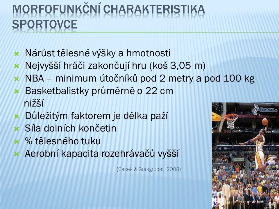  Nárůst tělesné výšky a hmotnosti  Nejvyšší hráči zakončují hru (koš 3,05 m)  NBA – minimum útočníků pod 2 metry a pod 100 kg  Basketbalistky prům