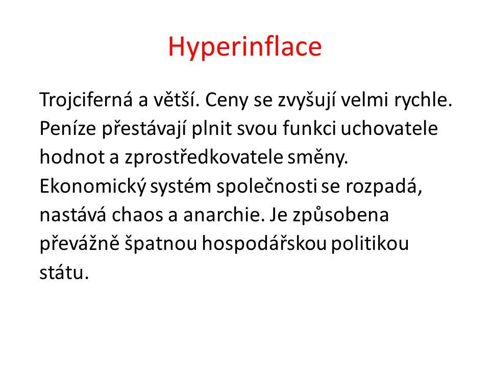 Hyperinflace Trojciferná a větší. Ceny se zvyšují velmi rychle.