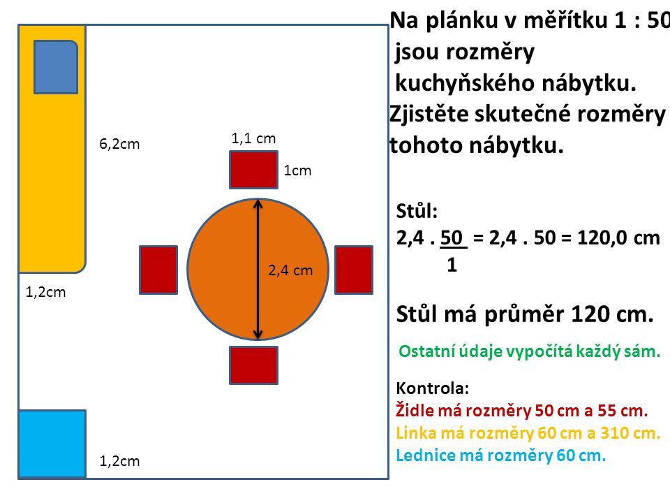 1,2cm 6,2cm 2,4 cm 1cm 1,1 cm 1,2cm Na plánku v měřítku 1 : 50 jsou rozměry kuchyňského nábytku.