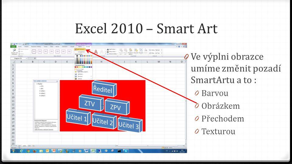 Excel 2010 – Smart Art 0 Ve výplni obrazce umíme změnit pozadí SmartArtu a to : 0 Barvou 0 Obrázkem 0 Přechodem 0 Texturou