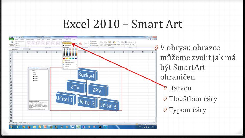 Excel 2010 – Smart Art 0 V obrysu obrazce můžeme zvolit jak má být SmartArt ohraničen 0 Barvou 0 Tloušťkou čáry 0 Typem čáry
