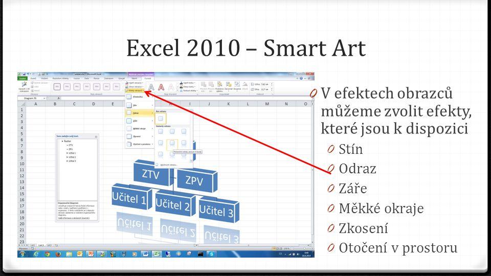 Excel 2010 – Smart Art 0 V efektech obrazců můžeme zvolit efekty, které jsou k dispozici 0 Stín 0 Odraz 0 Záře 0 Měkké okraje 0 Zkosení 0 Otočení v prostoru