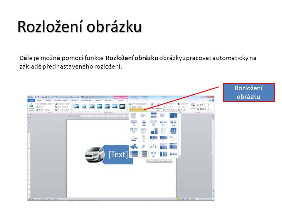 Rozložení obrázku Dále je možné pomocí funkce Rozložení obrázku obrázky zpracovat automaticky na základě přednastaveného rozložení.
