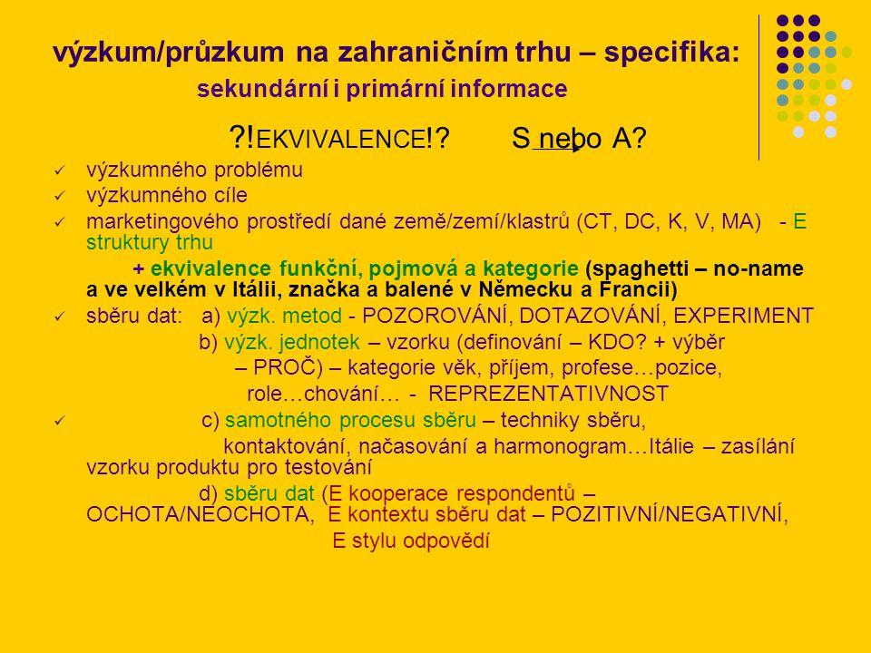 výzkum/průzkum na zahraničním trhu – specifika: sekundární i primární informace ?.