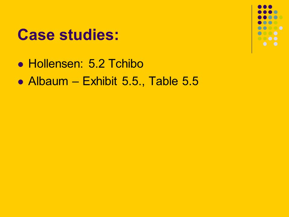 Case studies: Hollensen: 5.2 Tchibo Albaum – Exhibit 5.5., Table 5.5