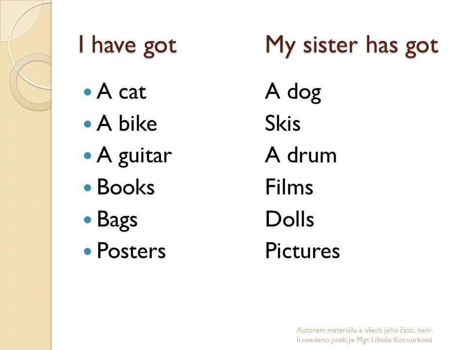 I have gotMy sister has got A cat A dog A bikeSkis A guitarA drum BooksFilms BagsDolls PostersPictures Autorem materiálu a všech jeho částí, není- li uvedeno jinak, je Mgr.