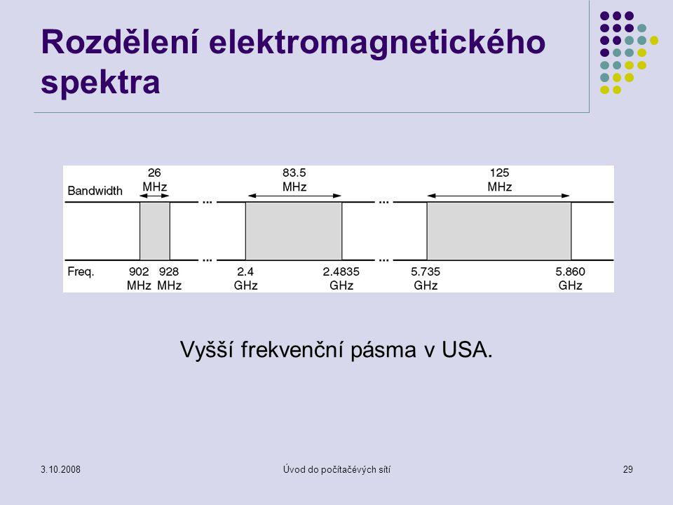 3.10.2008Úvod do počítačévých sítí29 Rozdělení elektromagnetického spektra Vyšší frekvenční pásma v USA.
