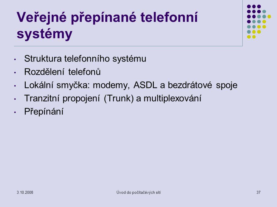 3.10.2008Úvod do počítačévých sítí37 Veřejné přepínané telefonní systémy Struktura telefonního systému Rozdělení telefonů Lokální smyčka: modemy, ASDL