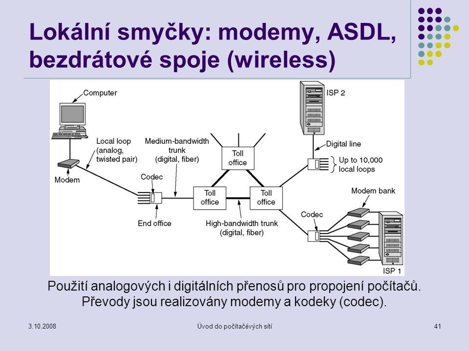 3.10.2008Úvod do počítačévých sítí41 Lokální smyčky: modemy, ASDL, bezdrátové spoje (wireless) Použití analogových i digitálních přenosů pro propojení