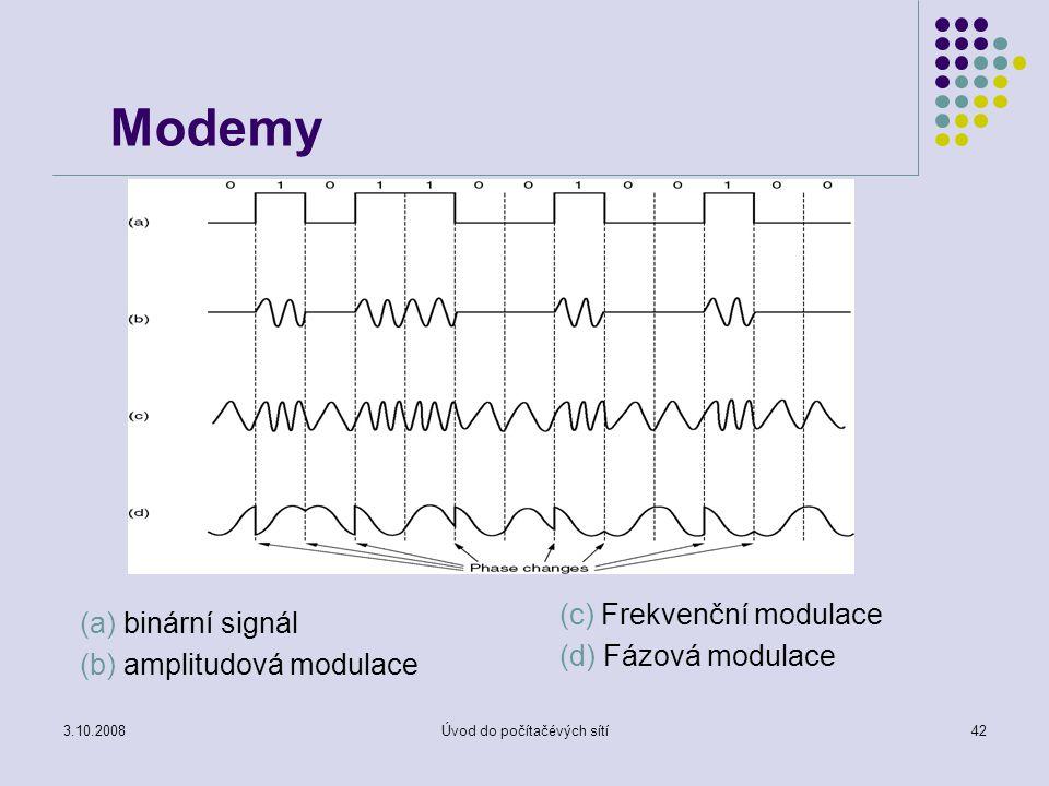 3.10.2008Úvod do počítačévých sítí42 Modemy (a) binární signál (b) amplitudová modulace (c) Frekvenční modulace (d) Fázová modulace