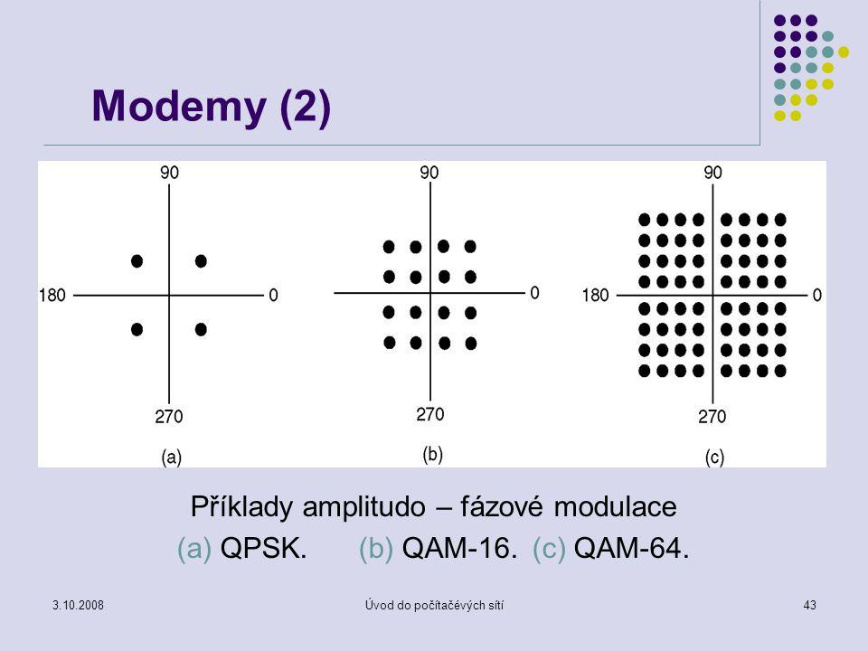 3.10.2008Úvod do počítačévých sítí43 Modemy (2) Příklady amplitudo – fázové modulace (a) QPSK. (b) QAM-16. (c) QAM-64.