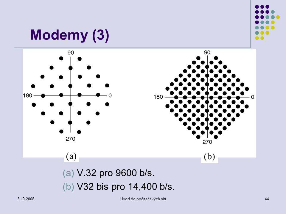 3.10.2008Úvod do počítačévých sítí44 Modemy (3) (a) V.32 pro 9600 b/s. (b) V32 bis pro 14,400 b/s. (a) (b)