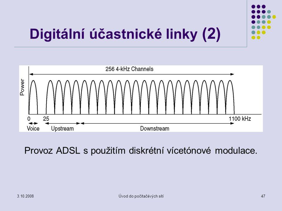 3.10.2008Úvod do počítačévých sítí47 Digitální účastnické linky (2) Provoz ADSL s použitím diskrétní vícetónové modulace.