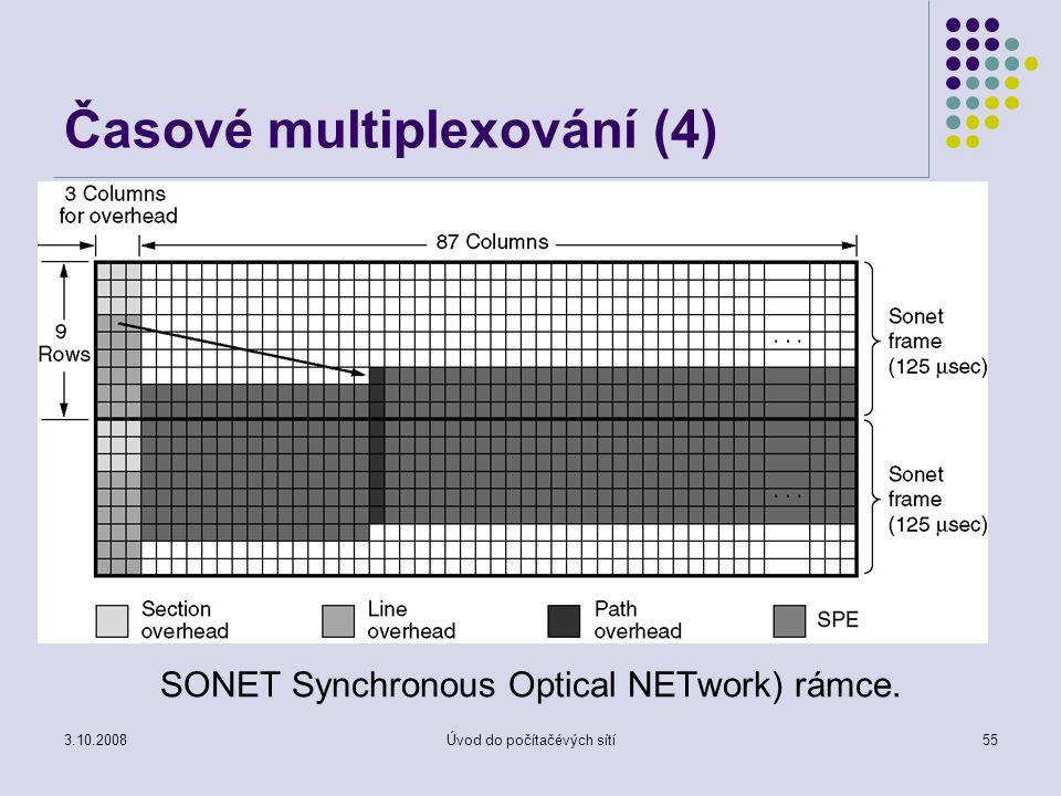 3.10.2008Úvod do počítačévých sítí55 Časové multiplexování (4) SONET Synchronous Optical NETwork) rámce.