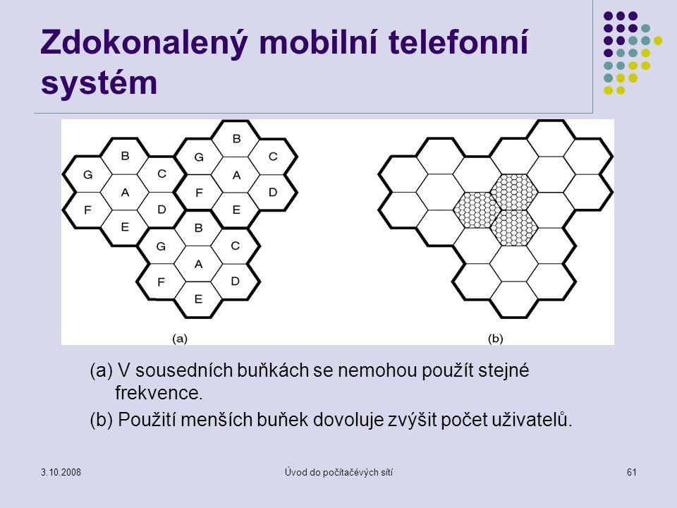 3.10.2008Úvod do počítačévých sítí61 Zdokonalený mobilní telefonní systém (a) V sousedních buňkách se nemohou použít stejné frekvence. (b) Použití men