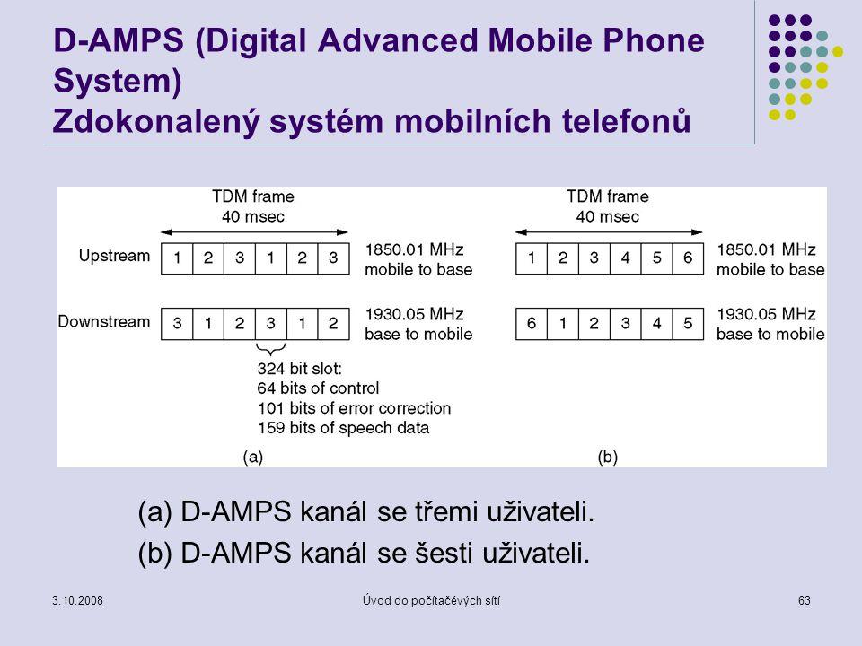 3.10.2008Úvod do počítačévých sítí63 D-AMPS (Digital Advanced Mobile Phone System) Zdokonalený systém mobilních telefonů (a) D-AMPS kanál se třemi uži