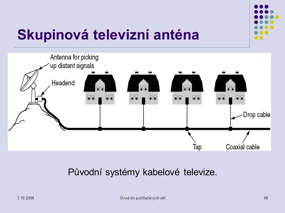 3.10.2008Úvod do počítačévých sítí68 Skupinová televizní anténa Původní systémy kabelové televize.