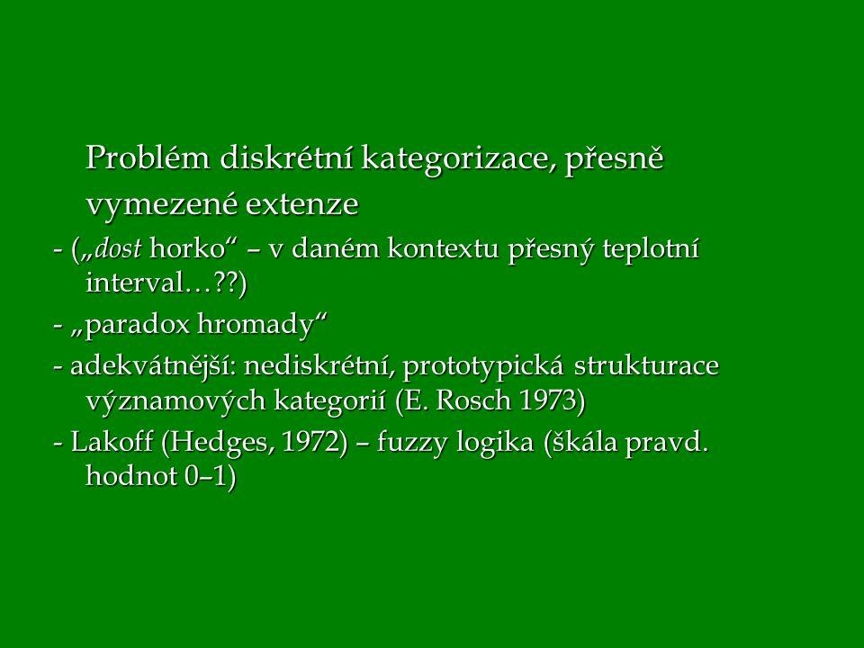 """Problém diskrétní kategorizace, přesně vymezené extenze - ("""" dost horko"""" – v daném kontextu přesný teplotní interval…??) - """"paradox hromady"""" - adekvát"""