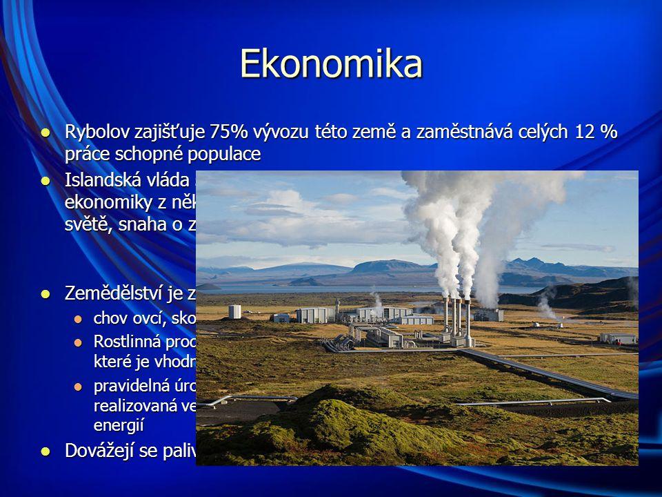 Ekonomika Rybolov zajišťuje 75% vývozu této země a zaměstnává celých 12 % práce schopné populace Rybolov zajišťuje 75% vývozu této země a zaměstnává celých 12 % práce schopné populace Islandská vláda se ale v poslední době snaží snížit závislosti ekonomiky z několika důvodů : klesající cena rybích produktů ve světě, snaha o zachování rybích populací pro další generace Islandská vláda se ale v poslední době snaží snížit závislosti ekonomiky z několika důvodů : klesající cena rybích produktů ve světě, snaha o zachování rybích populací pro další generace Zemědělství je zaměřeno převážně na živočišnou produkci: Zemědělství je zaměřeno převážně na živočišnou produkci: chov ovcí, skotu, prasat a drůbeže chov ovcí, skotu, prasat a drůbeže Rostlinná produkce je omezena na pěstování brambor a zejména pícnin, které je vhodné pouze 1 % státu Rostlinná produkce je omezena na pěstování brambor a zejména pícnin, které je vhodné pouze 1 % státu pravidelná úroda zeleniny a jižního ovoce v oblasti při polárním kruhu, realizovaná ve velkokapacitních sklenících vytápěných geotermální energií pravidelná úroda zeleniny a jižního ovoce v oblasti při polárním kruhu, realizovaná ve velkokapacitních sklenících vytápěných geotermální energií Dovážejí se paliva, strojírenské výrobky a potraviny.