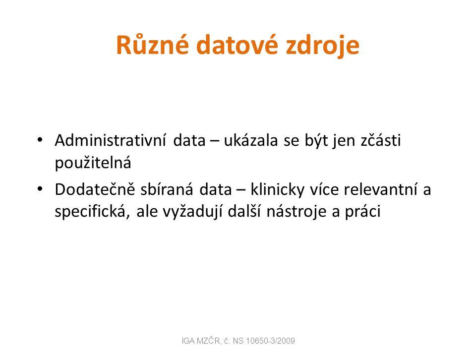 Administrativní data v ČR data sbíraná na celonárodní úrovni, v ustálených datových rozhraních, dle ustálené metodiky výhody:standardizace, nízké náklady, dobrá dostupnost, historická data nevýhody: nízká klinická specifičnost, údaje nejsou sbírány za účelem měření kvality a výkonnosti IGA MZČR, č.