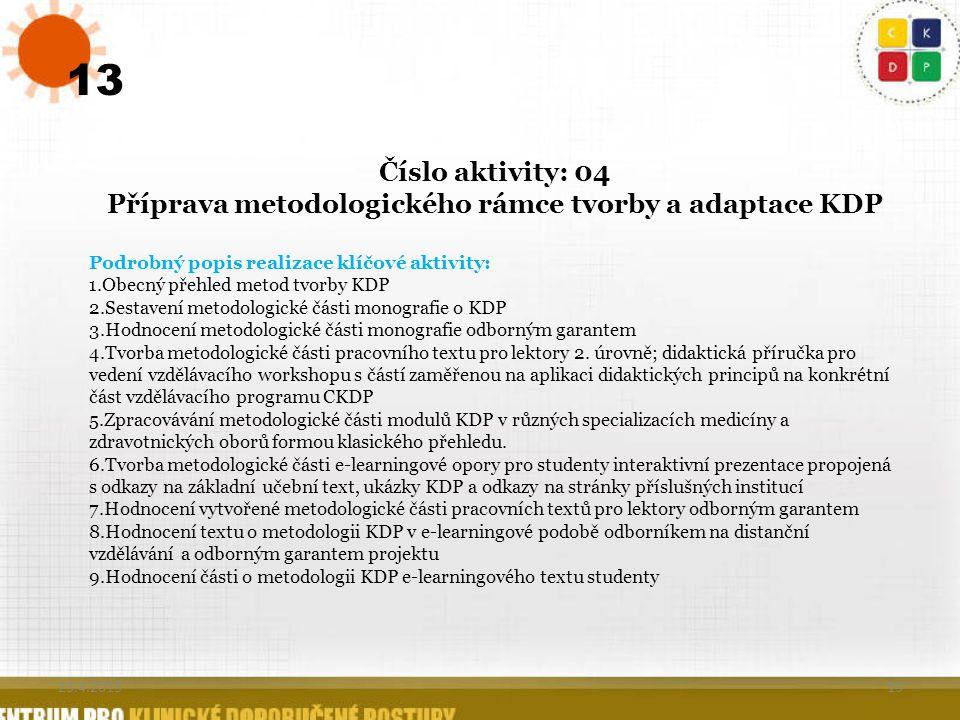 13 Číslo aktivity: 04 Příprava metodologického rámce tvorby a adaptace KDP Podrobný popis realizace klíčové aktivity: 1.Obecný přehled metod tvorby KD