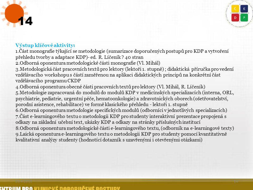 14 Výstup klíčové aktivity: 1.Část monografie týkající se metodologie (sumarizace doporučených postupů pro KDP a vytvoření přehledu tvorby a adaptace
