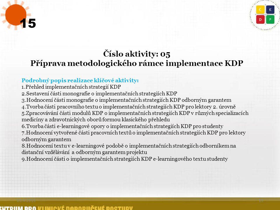 15 Číslo aktivity: 05 Příprava metodologického rámce implementace KDP Podrobný popis realizace klíčové aktivity: 1.Přehled implementačních strategií K