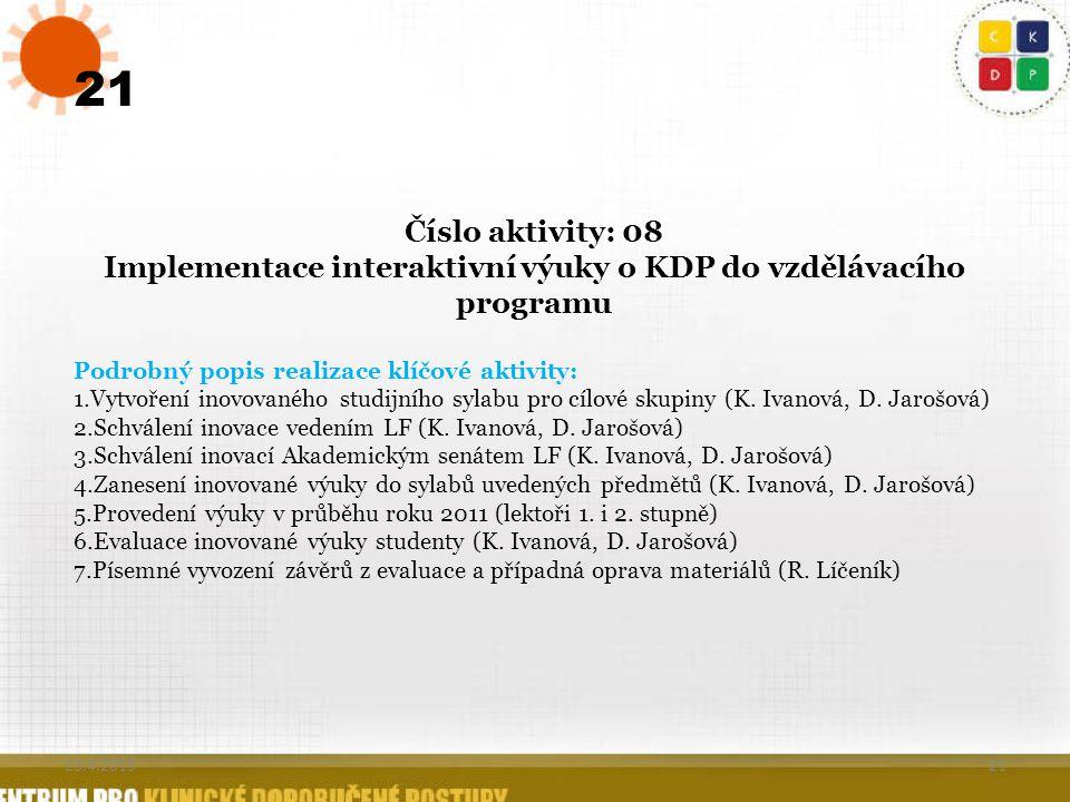 21 Číslo aktivity: 08 Implementace interaktivní výuky o KDP do vzdělávacího programu Podrobný popis realizace klíčové aktivity: 1.Vytvoření inovovanéh