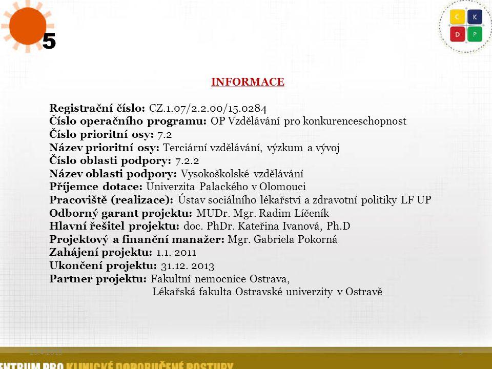5 5 INFORMACE Registrační číslo: CZ.1.07/2.2.00/15.0284 Číslo operačního programu: OP Vzdělávání pro konkurenceschopnost Číslo prioritní osy: 7.2 Náze