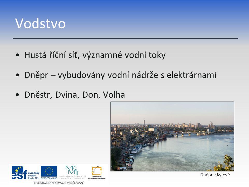 Vodstvo Hustá říční síť, významné vodní toky Dněpr – vybudovány vodní nádrže s elektrárnami Dněstr, Dvina, Don, Volha Dněpr v Kyjevě