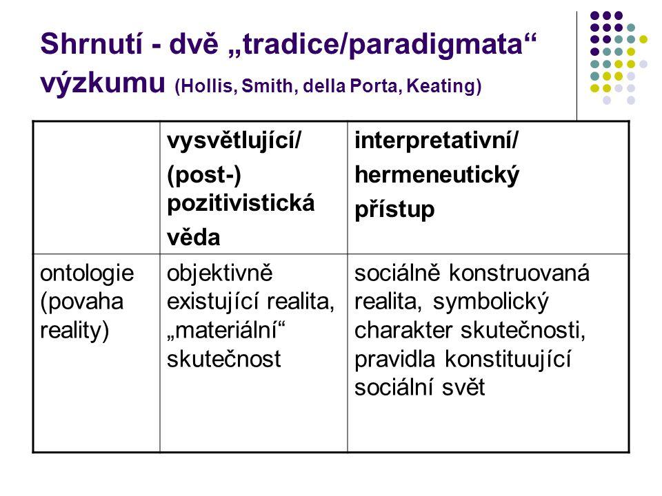 """Shrnutí - dvě """"tradice/paradigmata výzkumu (Hollis, Smith, della Porta, Keating) vysvětlující/ (post-) pozitivistická věda interpretativní/ hermeneutický přístup ontologie (povaha reality) objektivně existující realita, """"materiální skutečnost sociálně konstruovaná realita, symbolický charakter skutečnosti, pravidla konstituující sociální svět"""