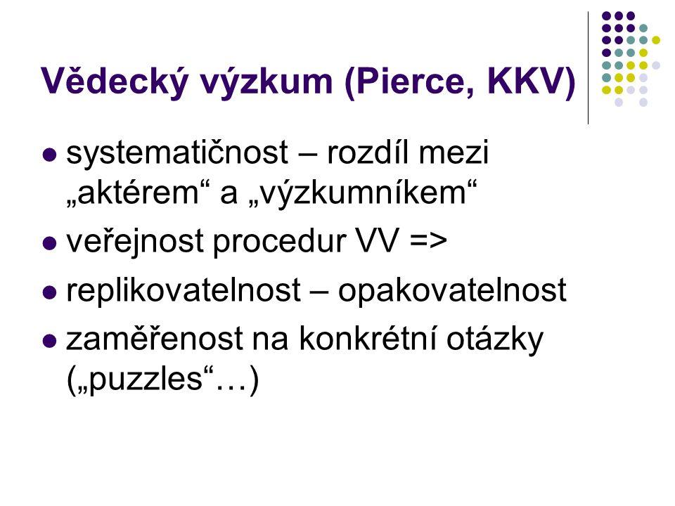"""Vědecký výzkum (Pierce, KKV) systematičnost – rozdíl mezi """"aktérem a """"výzkumníkem veřejnost procedur VV => replikovatelnost – opakovatelnost zaměřenost na konkrétní otázky (""""puzzles …)"""