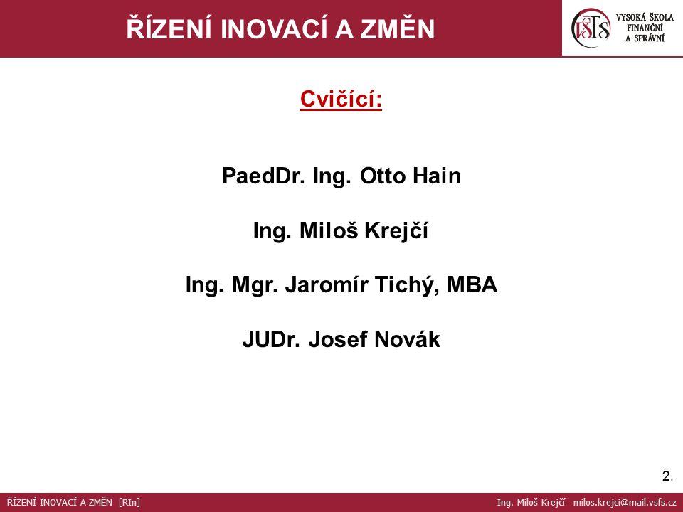 2.2.ŘÍZENÍ INOVACÍ A ZMĚN Cvičící: PaedDr. Ing. Otto Hain Ing.