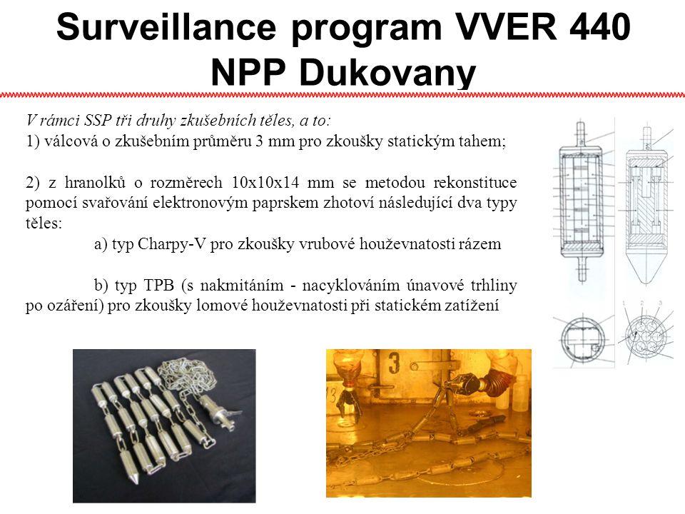 Surveillance program VVER 440 NPP Dukovany V rámci SSP tři druhy zkušebních těles, a to: 1) válcová o zkušebním průměru 3 mm pro zkoušky statickým tahem; 2) z hranolků o rozměrech 10x10x14 mm se metodou rekonstituce pomocí svařování elektronovým paprskem zhotoví následující dva typy těles: a) typ Charpy-V pro zkoušky vrubové houževnatosti rázem b) typ TPB (s nakmitáním - nacyklováním únavové trhliny po ozáření) pro zkoušky lomové houževnatosti při statickém zatížení