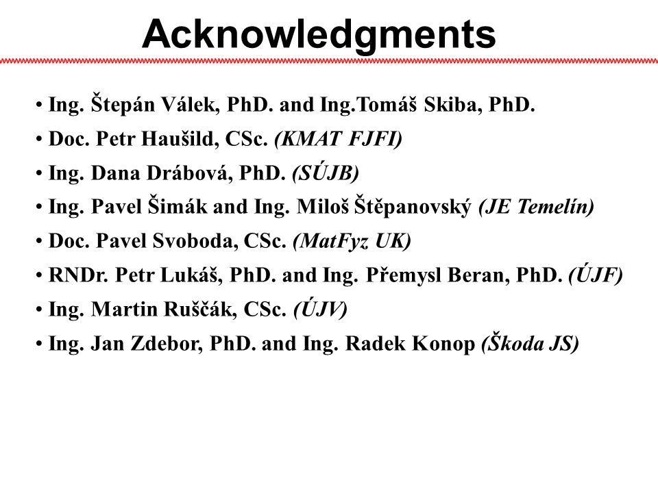Acknowledgments Ing.Štepán Válek, PhD. and Ing.Tomáš Skiba, PhD.